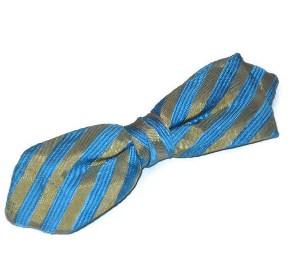 1950s Gold and Blue Striped Bow Tie, Vintage 50s C