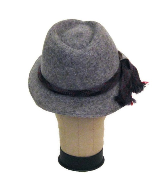 70s Fedora Hat Grey Womans Hat Doeskin Felt Hat W… - image 4
