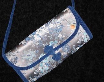60s Asian Purse Blue Floral Purse Blue & Silver Purse Asian Fabric Purse 1960s Chinese Purse Blue Floral Purse Asian Handbag