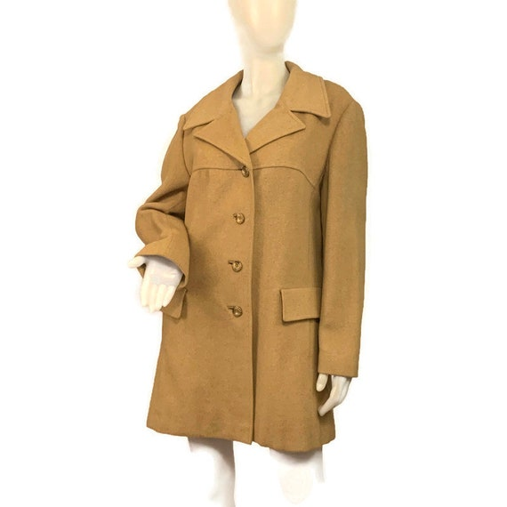 60s Camel Hair Car Coat Made in England, Vintage 1