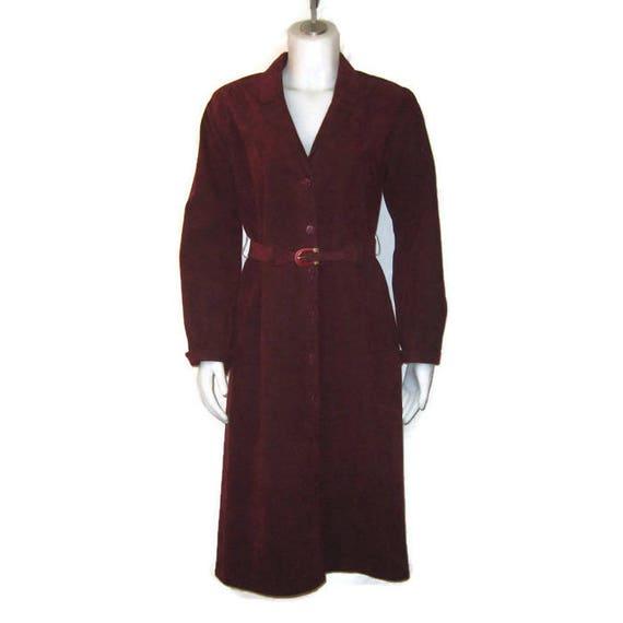 70s Shirt Dress, Maroon Coat Dress, Wine Red Dress
