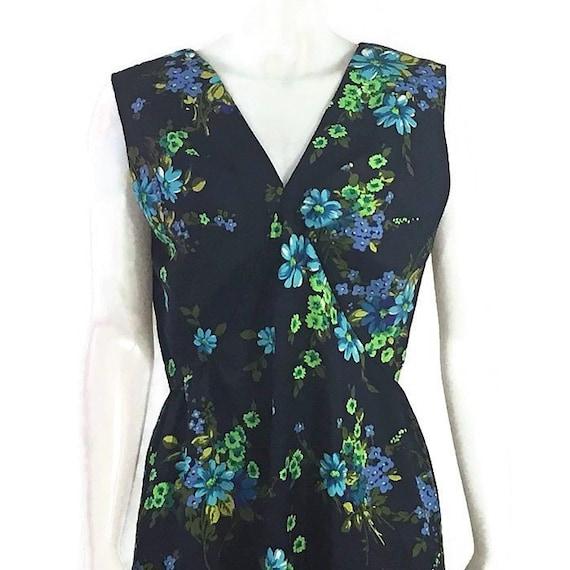 70s Blue Floral Maxi Dress, Vintage 1970s Long Flo