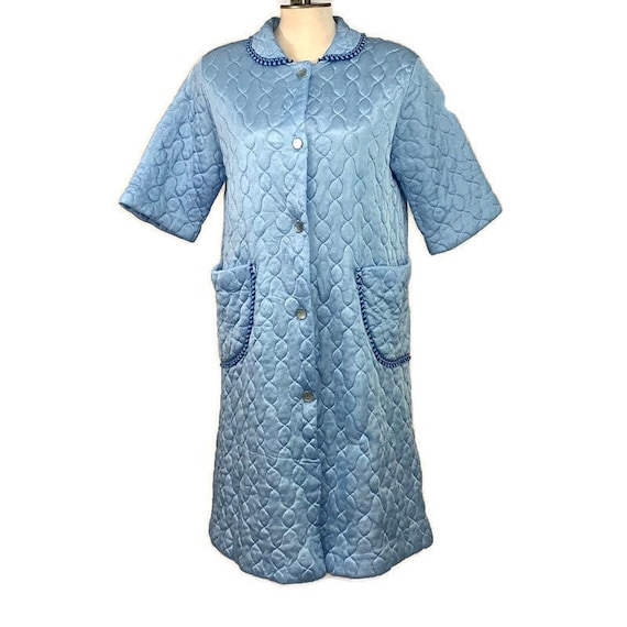 60s Blue Quilted Housecoat , Vintage 1960s Quilted