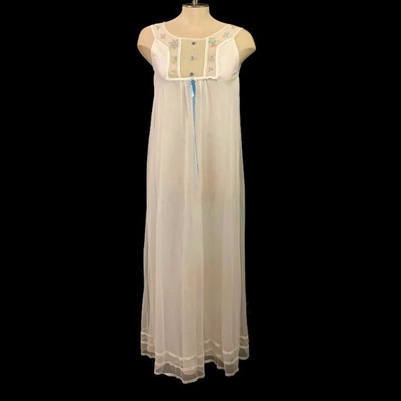 50s White Nightgown, Long Nightgown, Vintage 1950s