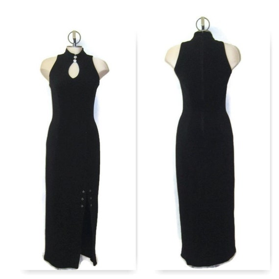 Vintage 70sSleeveless Black Evening Gown, 1970s Lo