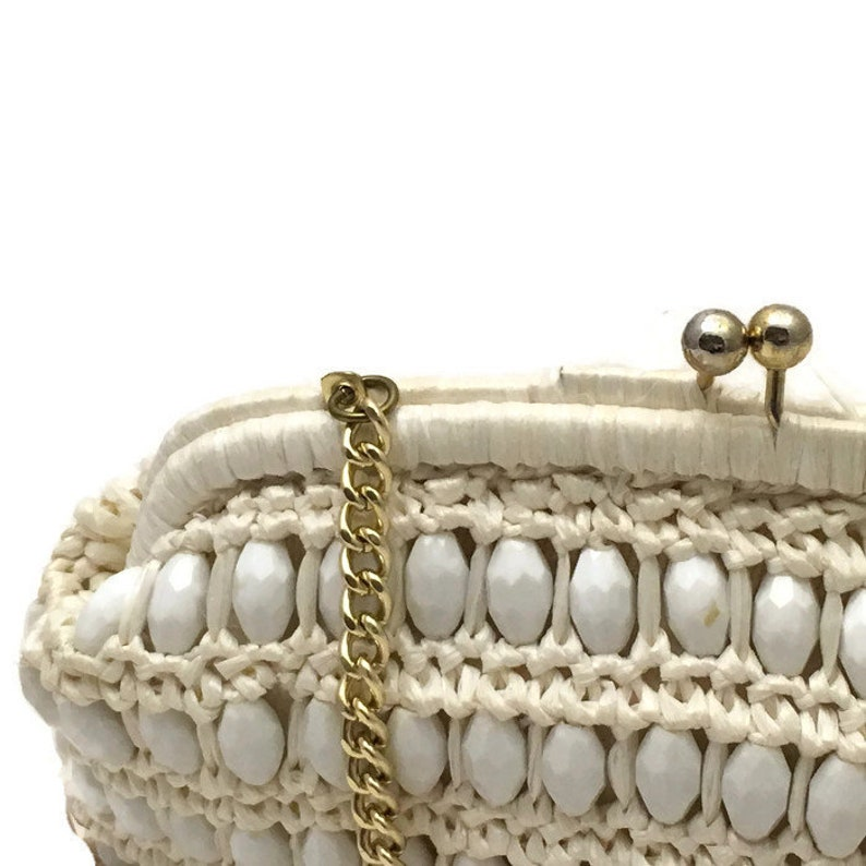 d9a27f3692a 1960s Summer Purse,White Beaded Clutch, Cream Raffia, Vintage 60s Purse,  Vegan Friendly, Faceted Beads,
