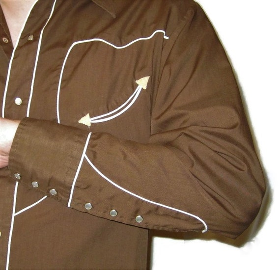 70s Western Shirt Brown Dress Shirt  Western Shir… - image 4