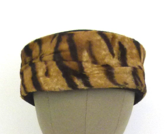 1960s Hat Animal Print Pillbox Brown and Black Hat