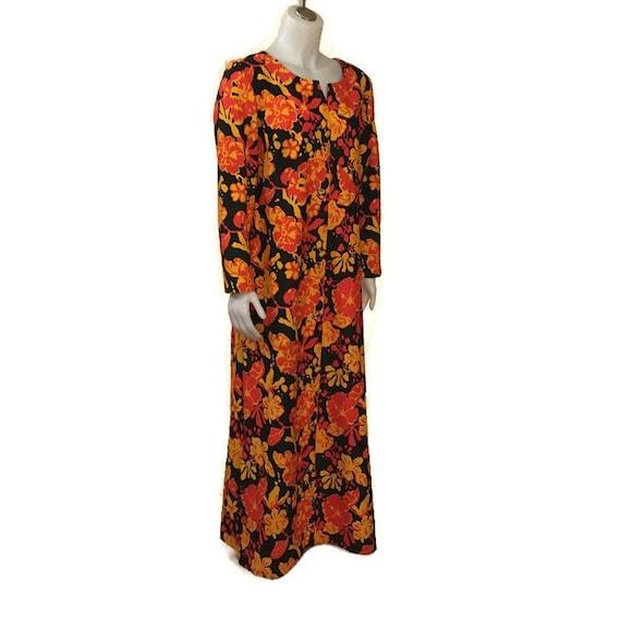 60s Hostess Gown, Kaftan, Floor Length, 1960s Maxi