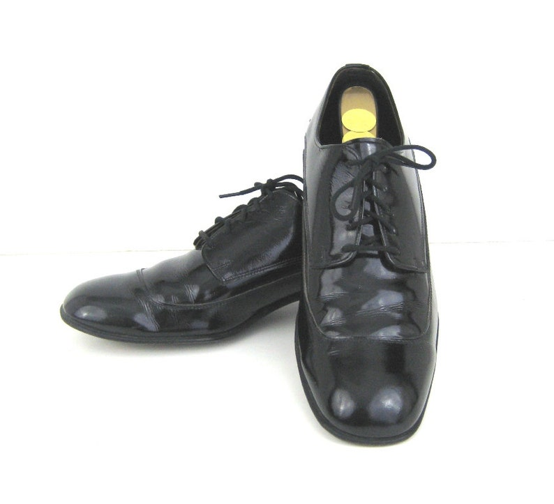 1960s Mens Shoes Black Patent Shoes Patent Leather Shoes 60s  6c534ebbf547