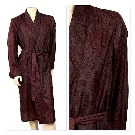 70s Men's Robe, Belted Dressing Gown, Long Purple