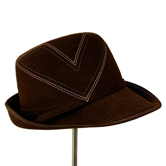 70s Brown Fedora, Vintage 1970s Womans Fedora with