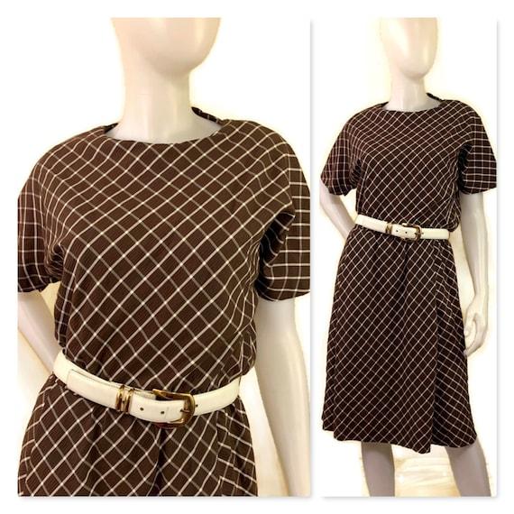 60s Brown Check Dress, Vintage 1960s Dress, Spring