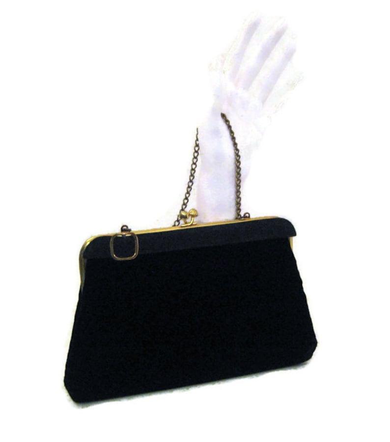 f796cd8563d4 60s Velvet Purse Black Velvet Purse Black Evening Bag