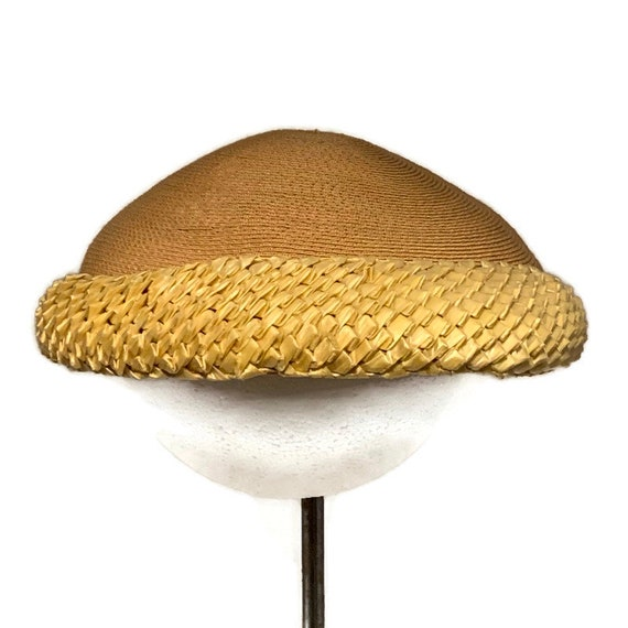 50s Summer Dress Hat, Vintage 1950s Woven Straw P… - image 5