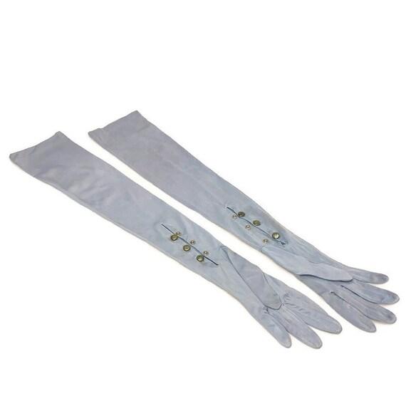50s Blue Opera Gloves, Light Blue Gloves, Vintage