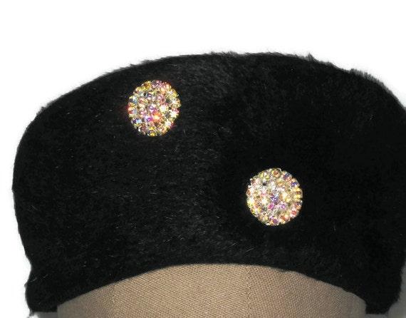 60s Black Hat Black Winter Hat Black Pillbox Hat 1