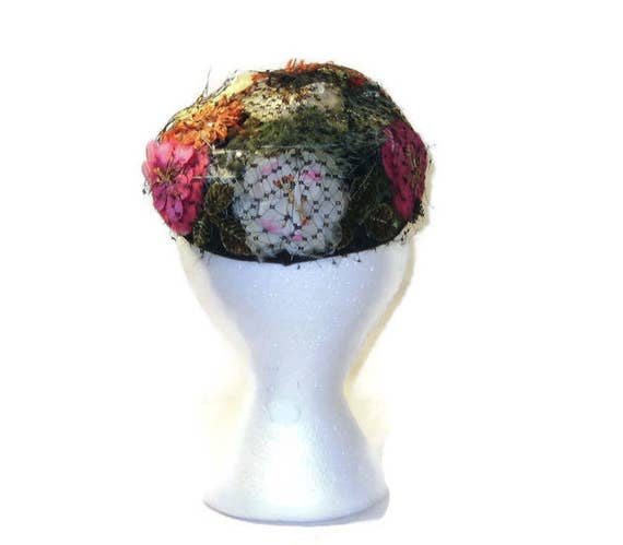 50s Skull Cap Flowered Beanie 1950s Floral Cap Fl… - image 4