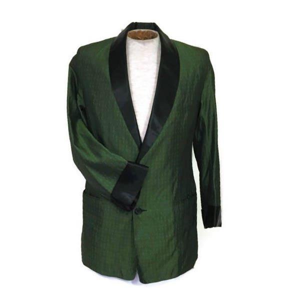 50s Smoking Jacket, Black Green Jacket, Green Dinn