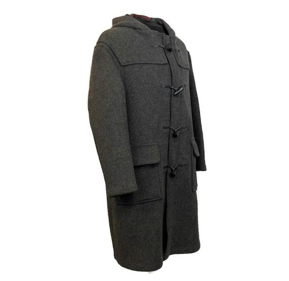 Vintage 70s Charcoal Grey Duffle Coat, 1970s Hood… - image 4