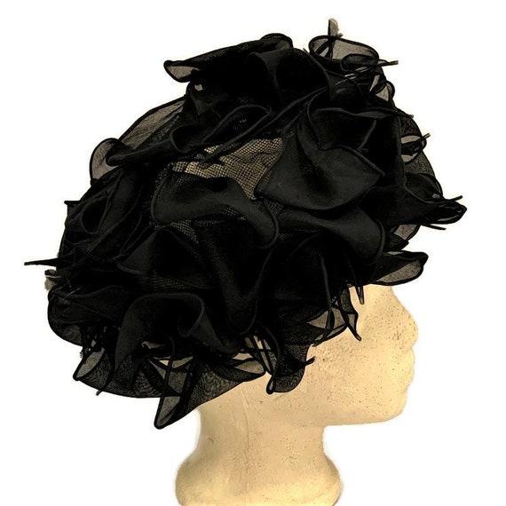 50s Black Chiffon Hat, Vintage 1950s Summer Dress