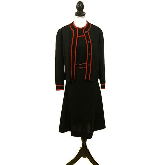 1960s Black Dress and Sweater, Black with Red Trim