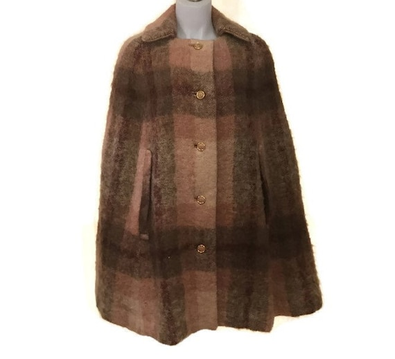 60s Mohair Cape, Pink Brown Cape, 1960s Tartan Cap