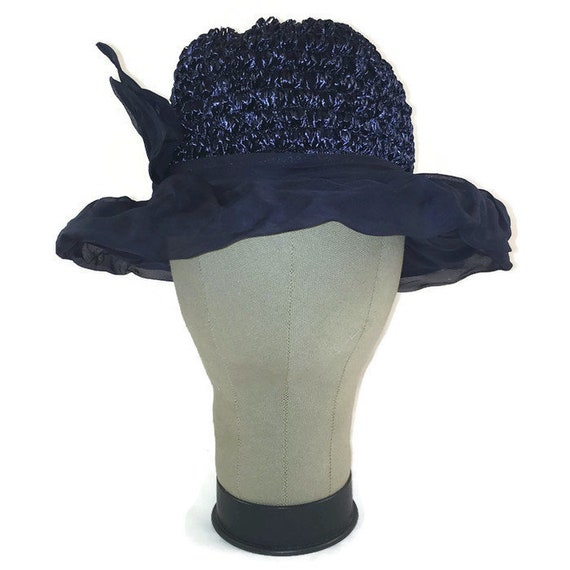 50s Blue Hat, Blue Chiffon Hat, Blue Rafia Hat, Da