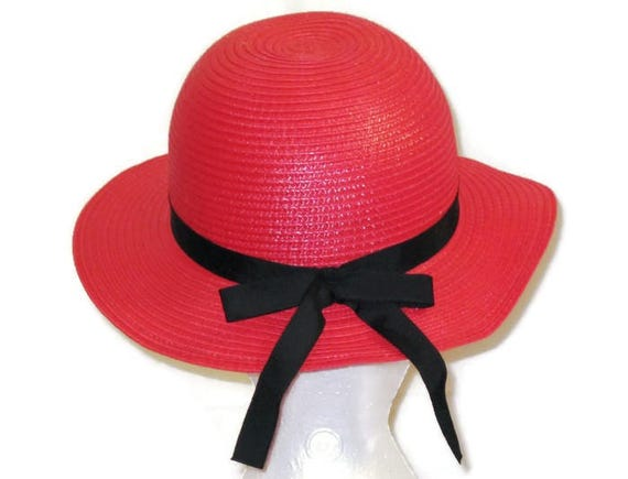 1960s Madeline Hat Red Hat Black Ribbon 60s Red Sp