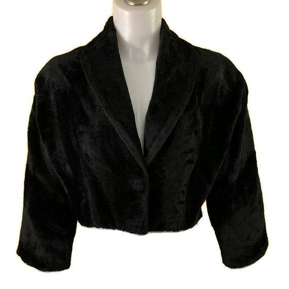 60s Black Crop Jacket, Black Faux Fur Bolero, Shor