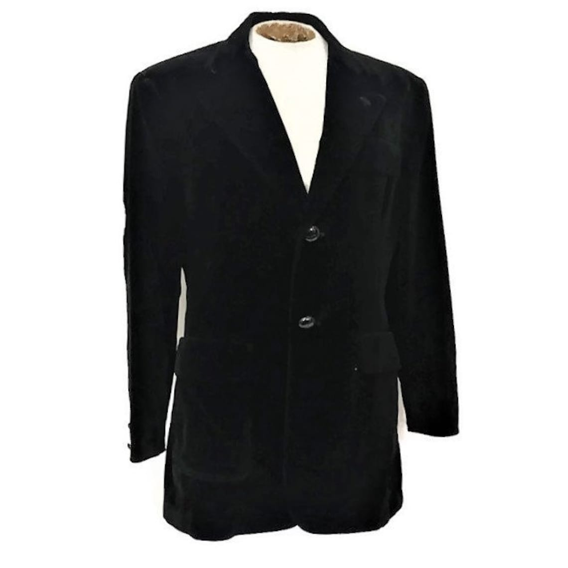 Black Velvet Blazer, Vintage Hollywood Jacket With Wood Buttons, Elbow Patches And Fitted Waist Back Belt