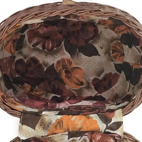 1960s Wicker Purse, Floral Lining, Plastic Wicker… - image 8