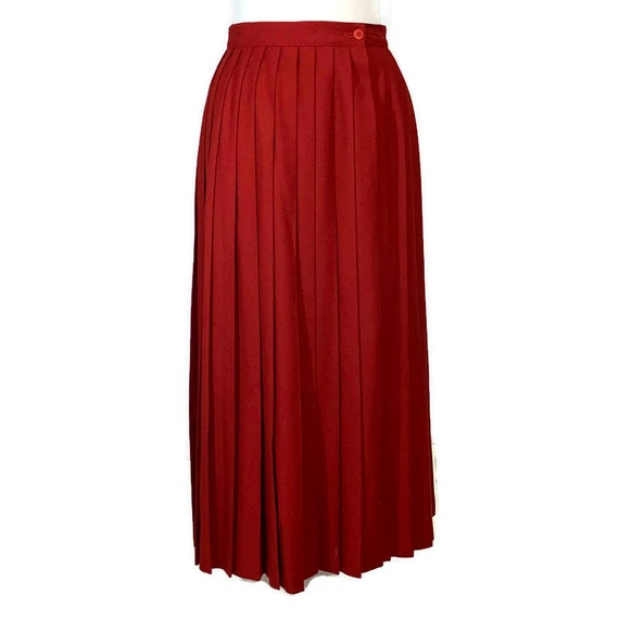 Vintage 80s Red Wool Blend Wrap Skirt, 1980s Pleat