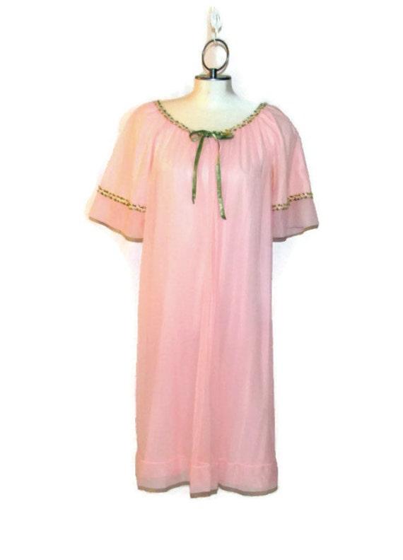 1960s Pink Robe Nylon Chiffon Claire Haddad Linger