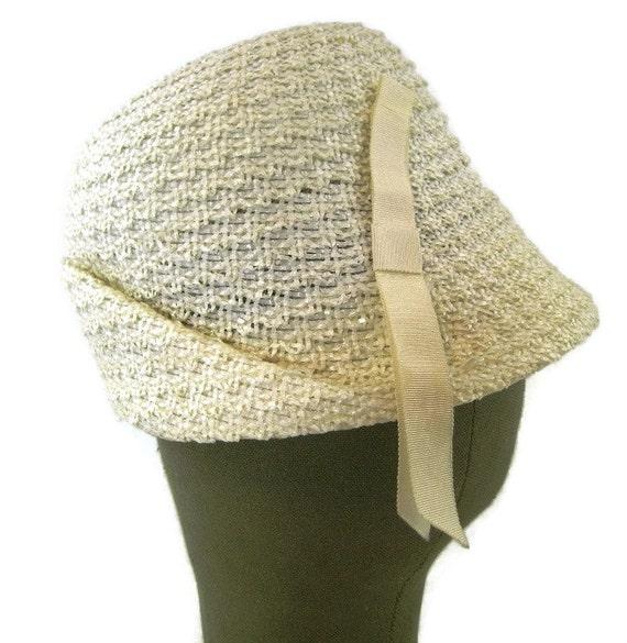 60s Ivory Cloche  Cream Woven Hat Cream Summer Hat