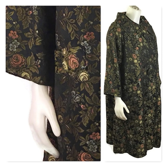 50s Black Floral Evening Coat, Vintage 1950s Swing