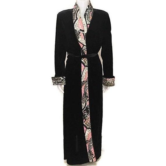 80s Velour Robe Black Robe Belted Dressing Gown Long Robe Etsy