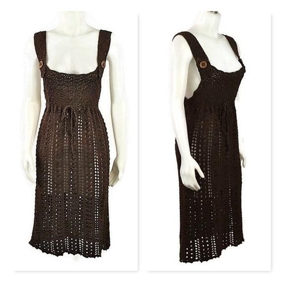 60s Brown Crochet Dress, Vintage 1960s Crochet Jum