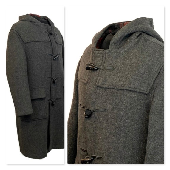 Vintage 70s Charcoal Grey Duffle Coat, 1970s Hoode