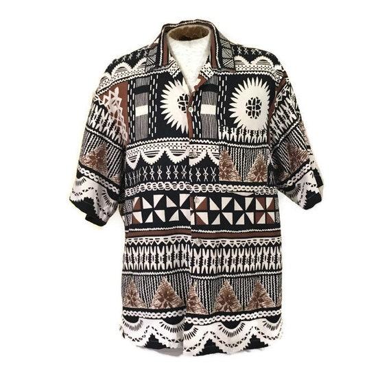 60s Hawaiian Barkcloth Shirt, Black White Brown Co