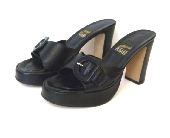 1980s  Shoes Black Shoes Black Platform Sandals Vi
