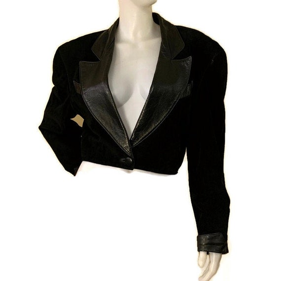 80s Black Leather and Suede Crop Jacket, Vintage 1