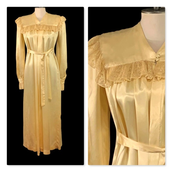 20s Hollywood Glamour Champagne Liquid Satin Robe,