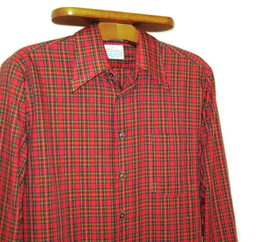 années 70 chemise à carreaux rouge large col chemise homme   Etsy d086c4f4166c