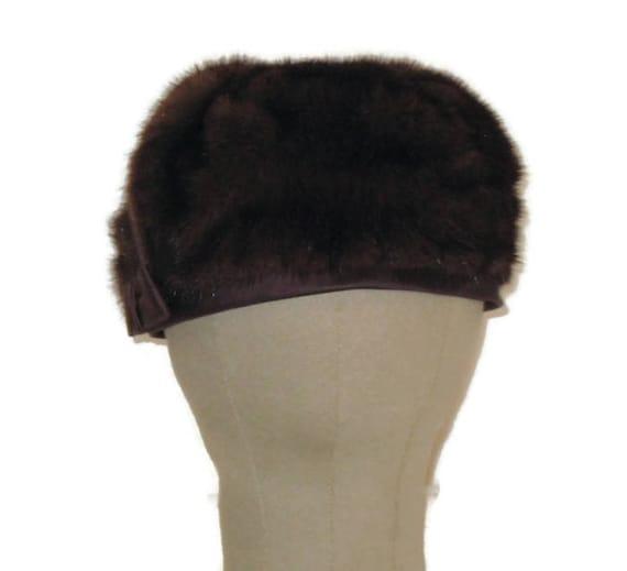 60s Fur Pillbox Hat, Fur Satin Hat, Brown Fur Hat… - image 2
