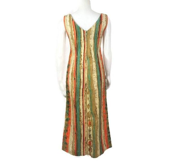 50s Striped Barkcloth Dress, Vintage 1950s Midi D… - image 5
