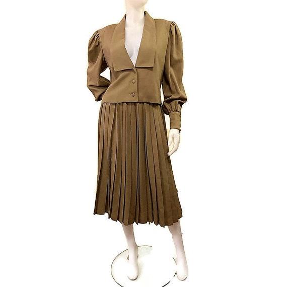 80s Virgin Wool Suit, Khaki Brown Suit, Jacket an… - image 1