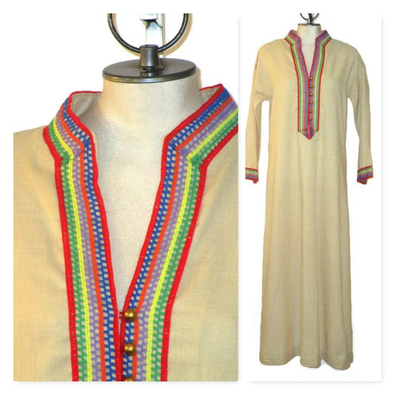 Vintage 70s Caftan, 1970s Beach Cover Up