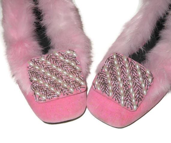 Pink Fur Slippers, Vintage Beaded Slippers