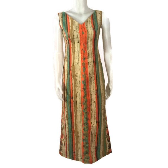 50s Striped Barkcloth Dress, Vintage 1950s Midi D… - image 8